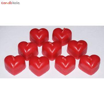 تصویر از شمع طرح قلبی مدل نیلوفر بسته 9 عددی