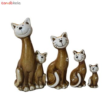 تصویر از مجسمه طرح گربه family مجموعه 4 عددی